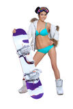Sexy dressed woman with snowboard Royalty Free Stock Image