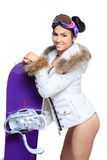 Sexy dressed woman with snowboard Royalty Free Stock Images