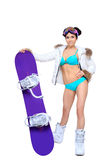 Sexy dressed woman with snowboard Royalty Free Stock Photos