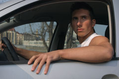 Sexy driver in a car Royalty Free Stock Images