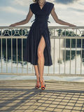 Sexy elegant woman by lake in park Stock Photo