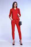 Sexy elegant woman natural beauty fashion style clothes casual. Formal suit lady in red silk romantic meeting date blouse and pants party style glamour model Stock Photo