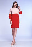 Sexy elegant woman natural beauty fashion style clothes casual. Formal suit lady in red silk romantic meeting date red dress  party style glamour model trend Royalty Free Stock Photo