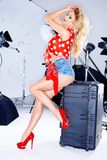 Sexy elegantes Modell in einer Studiofotoaufnahme Stockfoto