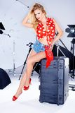 Sexy elegantes Modell in einer Studiofotoaufnahme Stockbild