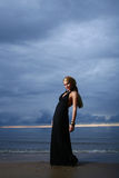 Sexy en luxevrouw op de zonsondergang backgroung Royalty-vrije Stock Afbeeldingen