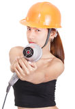 engineer aiming hairdryer Stock Photo
