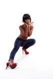 Sexy ethnische schulterfreie Mode-Modell-Frau in den Jeans Lizenzfreie Stockfotos