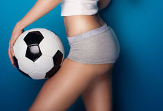 Sexy fan of football. Stock Photo