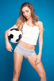 Sexy fan of football. Stock Image