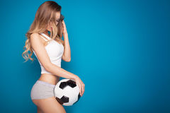 Sexy fan of football. Stock Photos