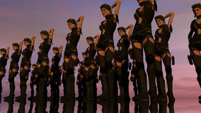 Sexy Fantasie-Revue bei Sonnenuntergang Lizenzfreie Stockfotografie