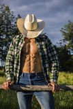 Sexy farmer or cowboy with unbuttoned shirt Stock Photography