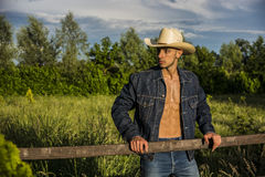 farmer or cowboy with unbuttoned shirt Royalty Free Stock Images