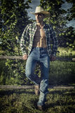 farmer or cowboy with unbuttoned shirt Royalty Free Stock Photography