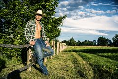 Sexy farmer or cowboy with unbuttoned shirt. Portrait of sexy farmer or cowboy in hat with unbuttoned shirt on muscular torso, looking to a side, while standing Royalty Free Stock Photo