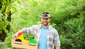 Sexy farmer hold wooden box with pot. Eco farm worker. Harvest. happy earth day. Eco living. farming and agriculture royalty free stock photo
