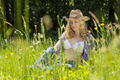 Sexy farmgirl Stock Images