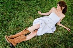 Sexy Farmgirl Fashion Model Stock Photo