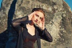 Sexy fashion girl. Sexy female model posing in fashion dress Royalty Free Stock Photo