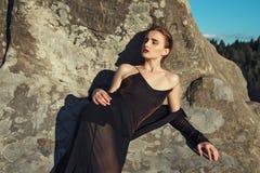 Sexy fashion girl. Sexy female model posing in fashion dress Royalty Free Stock Photos