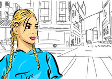 Sexy fashion girl in sketch style on a city Stock Images