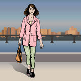 Sexy fashion girl in sketch style on a city-background. vector illustratoin Royalty Free Stock Photo
