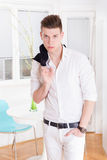 fashion male model dressed elegant, casual posing stock image