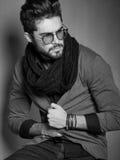 fashion man model dressed casual posing dramatic Stock Image