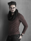 Sexy fashion man model dressed casual posing dramatic Royalty Free Stock Photo