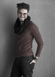 Sexy fashion man model dressed casual smiling Stock Image