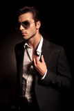fashion man with sunglasses looks away Stock Photography