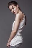 Sexy  fashion model with long hair, young European Stock Photos