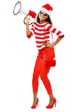 Fashion Model in red wearing Christmas hat Royalty Free Stock Images