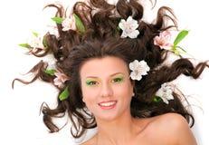 Sexy fashion portrait with flowers Stock Photo