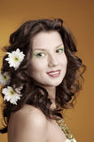 Sexy fashion portrait with flowers Stock Photography