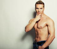 Sexy fashion portrait of a hot male model Royalty Free Stock Photos
