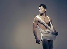 Sexy fashion portrait of male model Stock Photos