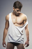 Sexy fashion portrait of a  male model Royalty Free Stock Images