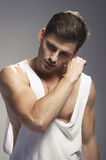 Sexy fashion portrait of a  male model Stock Photos