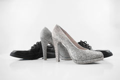 fashionable man's and womanish shoes royalty free stock photo