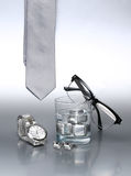 Sexy and fashionable set, silver accessories for business man. X Stock Image
