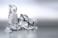 Sexy and fashionable set, silver accessories for man Outfit of b Stock Photos