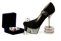 fashionable shoe with jewelry Royalty Free Stock Photos