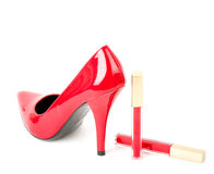 Sexy fashionable shoe and lipstick Royalty Free Stock Photos
