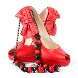 Sexy fashionable shoes with beads Stock Photo