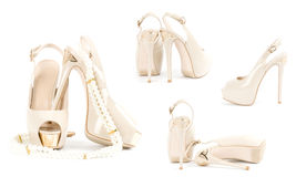fashionable shoes with beads Royalty Free Stock Image