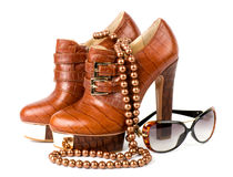 Sexy fashionable shoes and glasses Royalty Free Stock Photo