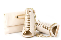 Sexy fashionable shoes, golden jewelry Stock Photography