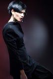 Sexy Fashionl Woman in Black Guipure Dress Stock Photo